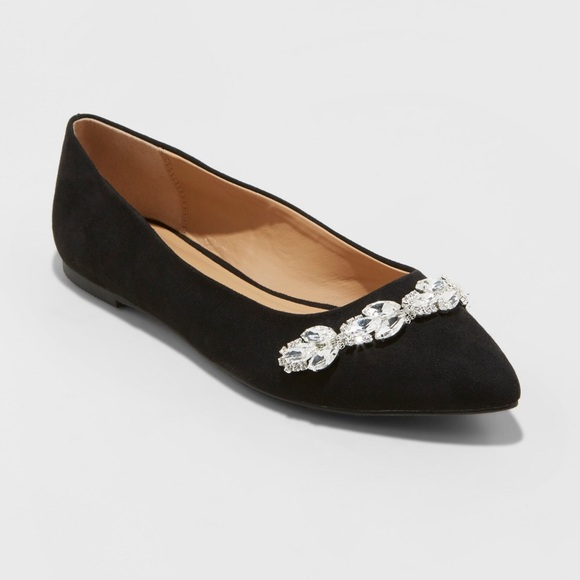 52287d23e5b A New Day Jemma black pointed-toe flat embellished